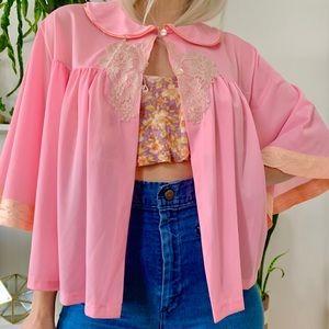 Vintage 70s baby pink angel sleeve capelet 1-2X